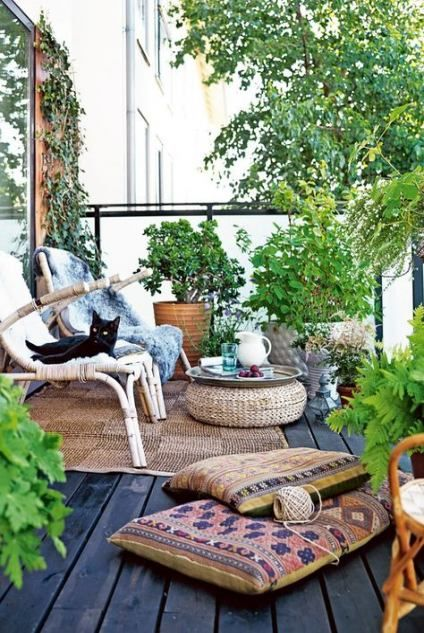 Balcony with plants and seating